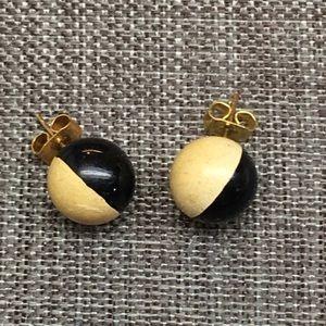 Vintage Jewelry - Half and Half Stud Ball Globe Earrings